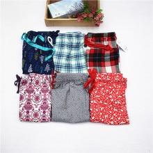 Женские пижамы из хлопчатобумажной ткани, штаны для сна, длинные женские пижамы