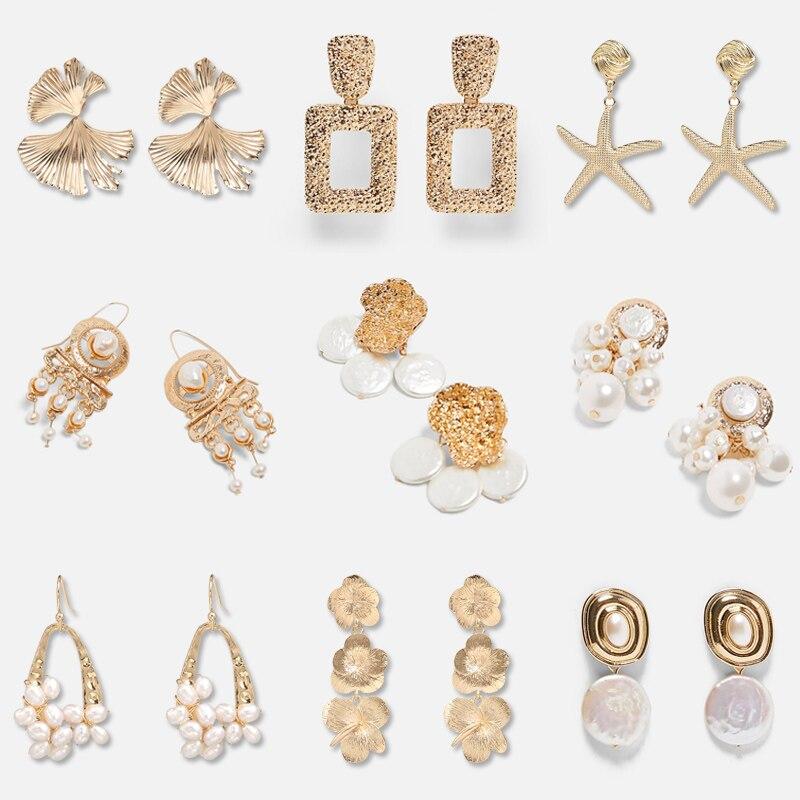 FASHIONSNOOPS Vintage za Pearl Dangle Drop Earring For Women Jewelry Oorbellen Handmade Gold Metal Earrings Bijoux-in Drop Earrings from Jewelry & Accessories on Aliexpress.com | Alibaba Group