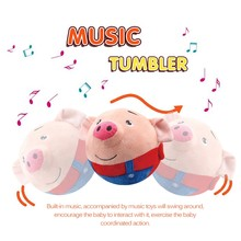 Electronic Music Plush Toys Bouncing Ball Tumbler Make Kids Laugh Lol Kawaii Stuffed Animals Pigs Play Game Reborn Baby Dolls(China)