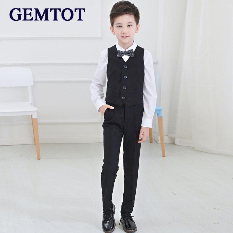 GEMTOT Big Boys Clothing Set 2017 New Piano Performance Clothing Long Sleeve Shirt + Vest + Pants + Bow Tie 4 Pcs Formal Sets
