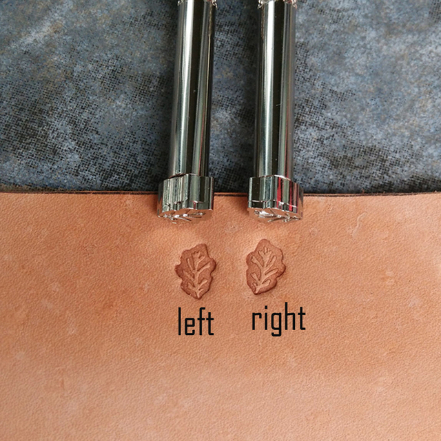 DIY leather stamp handtool oak leave design left right two side cowhide art accessories steel CNC carving