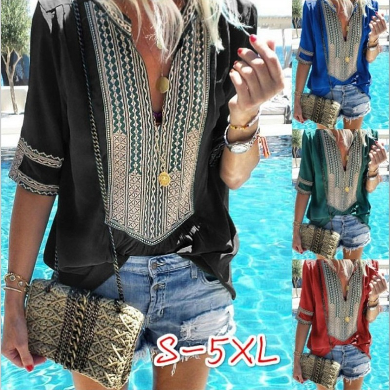 Summer Bohemian Top Chiffon Tunics Women Blouses Big Size 5XL Shirt Female Cotton Loose Blouse Boho Print Half Sleeve Blusas