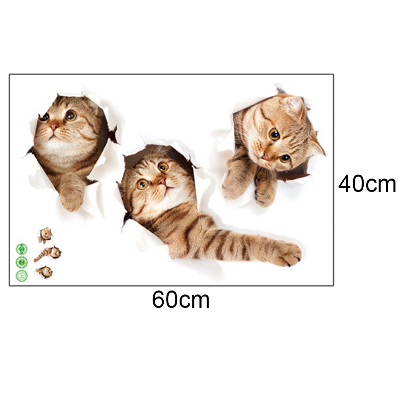 3D Cat Wall Sticker Hole Vivid Living Room үй декоры Wall - Үйдің декоры - фото 2