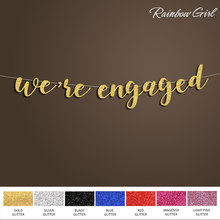 we're engaged Banner,Silver/Gold Glitter Letter Sign Backdrop,Bridal Shower Decoration,Wedding Party Decorations Supplies