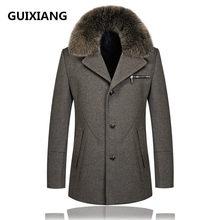 Trench Coat with Fur Collar Men Acquista a poco prezzo