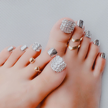 24 Pcs/Set Foot False Nails Tips Patch Toenail Jewelry Decoration with Glue Extension Manicure Art Style Toe Fake Toe Nail 24 pcs chic leopard pattern nail art false nails