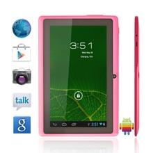 """Envío libre 7 """"Seis Colores Q88 Q88 Allwinner A33 Quad Core 1.5 GHz 7 pulgadas Tablet PC 1024×600 de Doble Cámara de 2500 mAh 8 GB"""