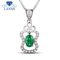 Romatic 18K 750 White Gold Emerald Pendant Diamond Oval Cut 4x6mm For Wedding Party WP053