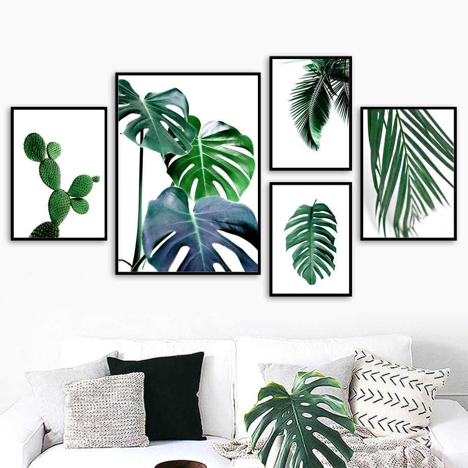 Свежий Зеленый Кактус большие тропические листья настенный Арт холст живопись растения скандинавские плакаты и принты настенные картины для гостиной