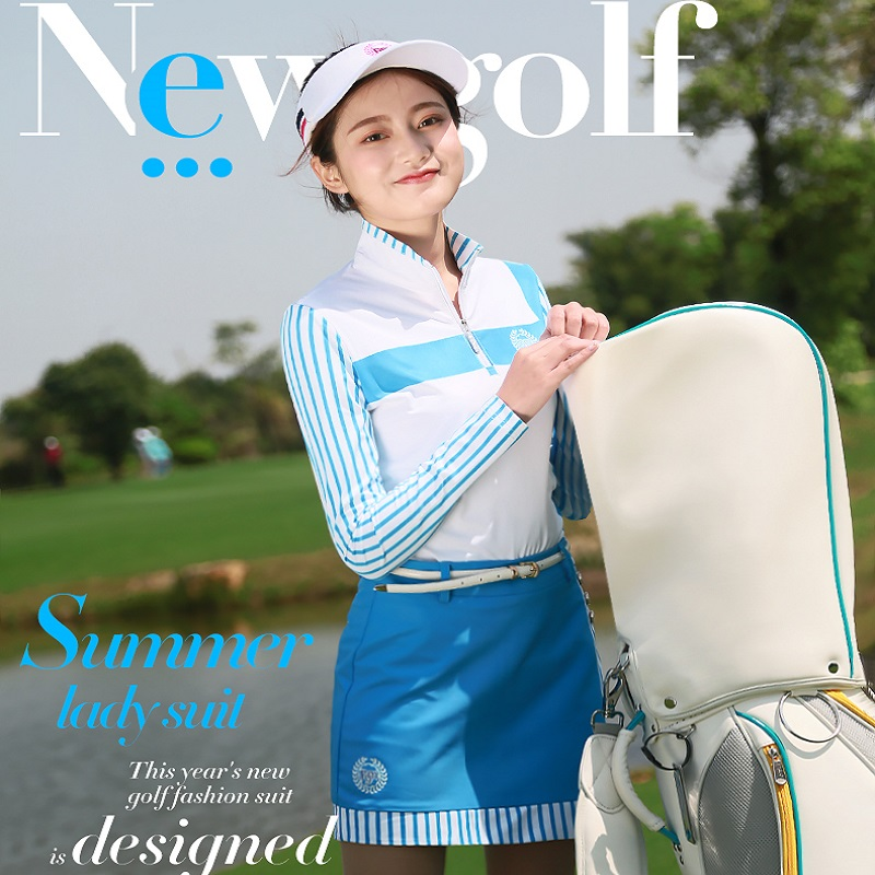 Women Tops Suit Vertical Stripes Long Sleeve T-shirt Summer Thin Lady Silk Uniforms Breathable PGM Golf Sportswear Clothes Skirt