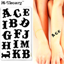 M-Theory Alphabet Letters Choker Makeup Temporary 3d Tattoos Sticker Flash Tatoos Body Art Tatto Sticker