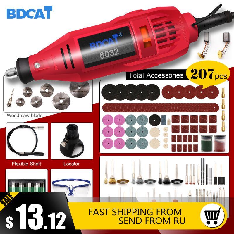 BDCAT 180 w 110 V/220 V Style Dremel Outil Rotatif Gravure Mini perceuse électrique machine de broyage avec 207 pièces Dremel outils accessoires