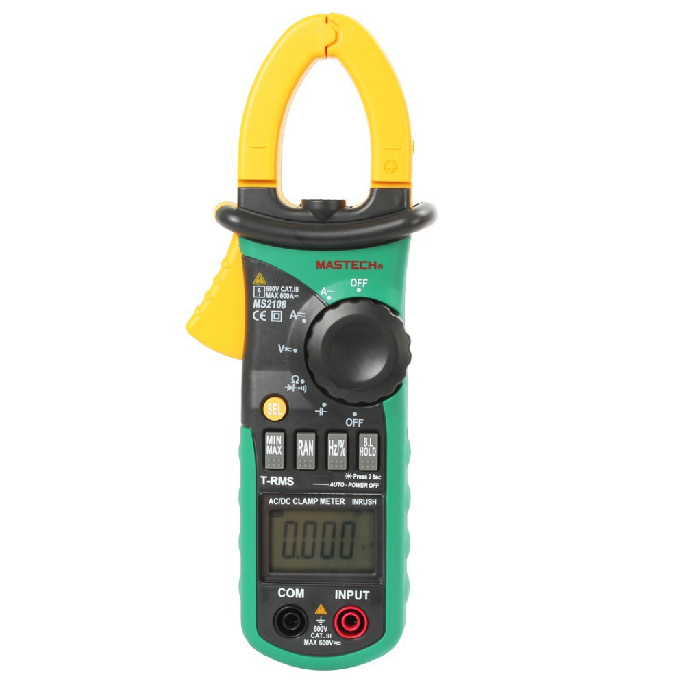 MS2108S True RMS Digital AC DC Current Clamp Meter Multimeter Capacitance Frequency Inrush Current Tester VS MS2108 YQ12 mastech ms2108s digital ac dc current clamp meter true rms multimeter capacitance frequency inrush current tester vs ms2108