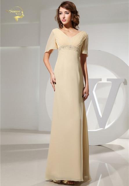 Jeanne Love Evening Gown 2019 New Design V Neck Short Sleeves Vestidos  Chiffon Formal Long Evening a00fad8b33e3