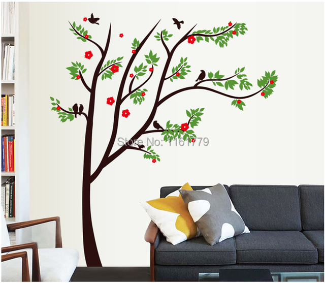 Lp On The Wall Home Decor Decals Poster Red Flowers House Sticker