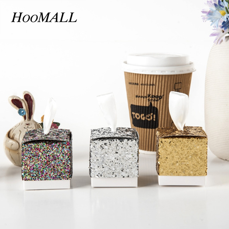 Hoomall 50pcs/lot Beautiful Bling Bling Wedding Candy Box Golden Silver Onion Glitter Party Wedding Decoration Favor Gift Box