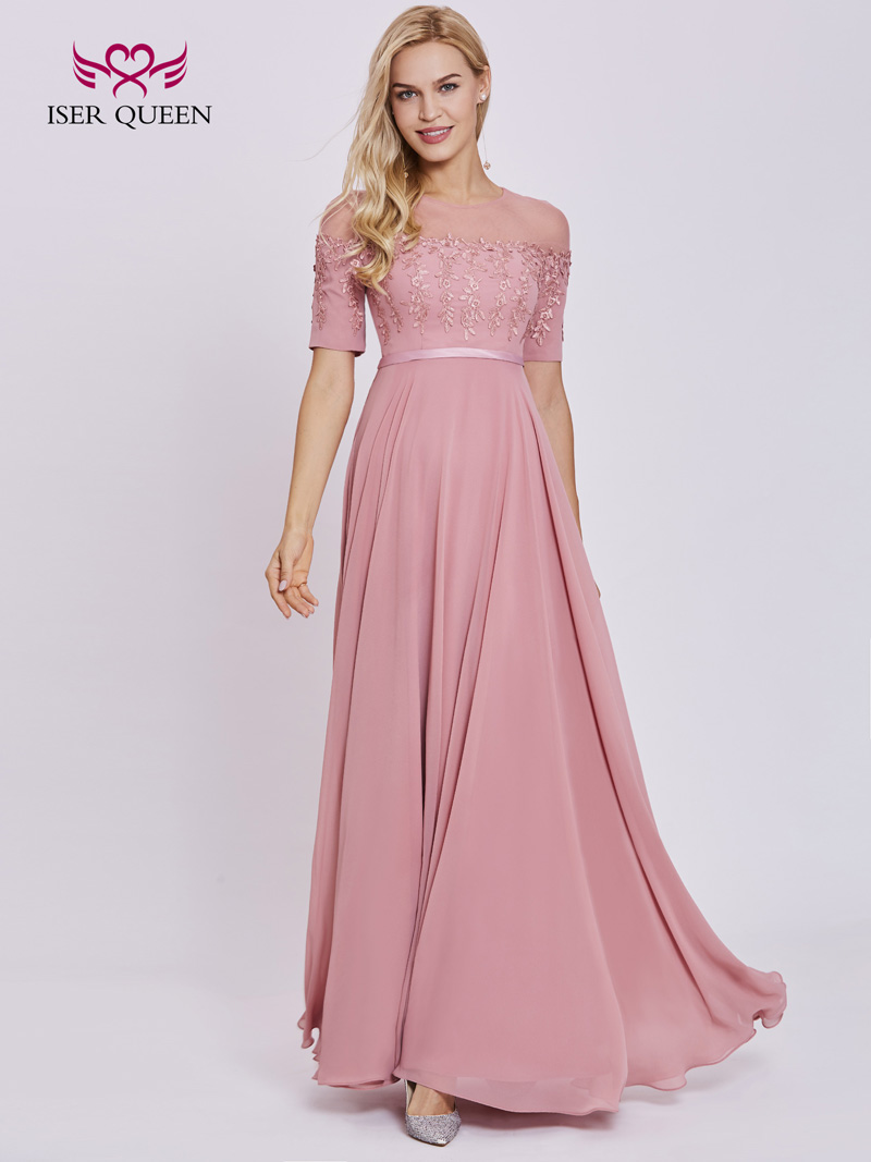 3339545dd02b Sheer Neck Half Sleeve Lace Appliques Chiffon Bridesmaid Dresses 2018 New  Plus Size Pink Color Elegant Women Formal Dress EX0012-in Bridesmaid Dresses  from ...