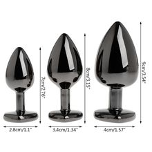 Beginner Plug Anal Aluminum Alloy Heart Shaped Rhinestone Butt Sex Toys For Dildo Anal Plug 3 Size S M L