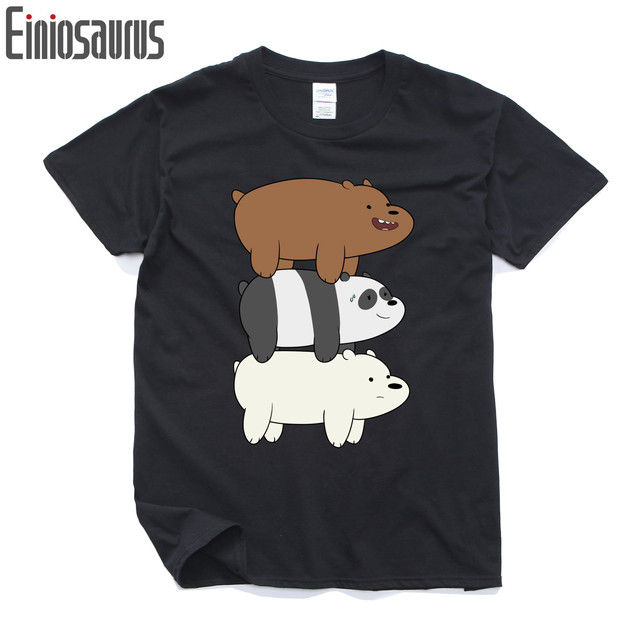 We Bare Bears T-shirt  Panda Ice Bear Park Grizzly animal Print Original Design Fashion Casual Cotton anime T shirt  Tee tops