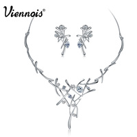 Viennois 18K Elegant Brand Silver Rhinestone Crystal Earrings Necklace For Women Bridesmaids Wedding Cross Jewelry Set
