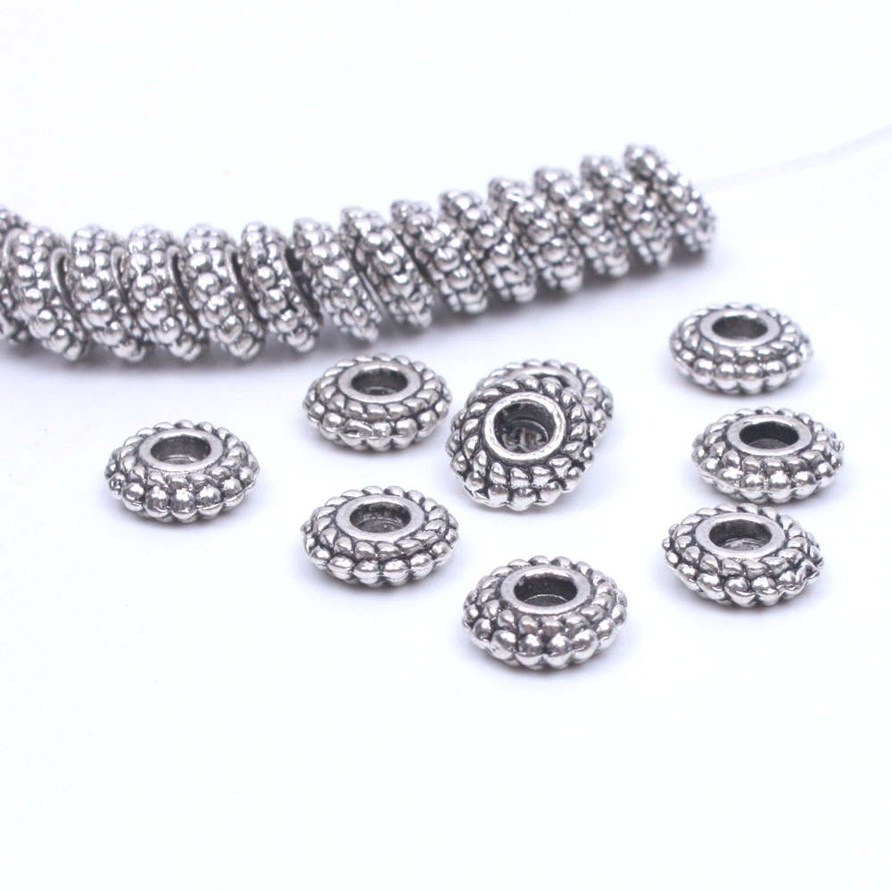 50pcs/lot 7mm Tibetan silver spacer beads dis spacers for jewelry making metal material jewelry supplies wholesale