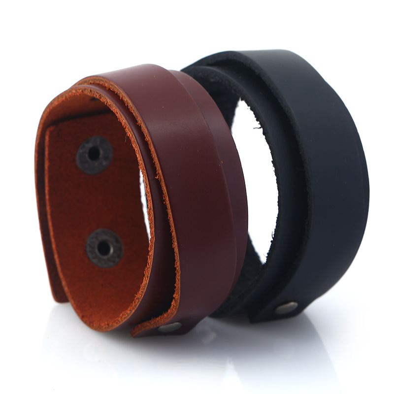 100% Genuine Leather Men Bangle Black Brown Color Double Layers Handmade DIY Women Cuff Bangle Jewelry Simple Classical Style