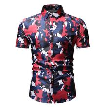 Camouflage Men Shirts Short sleeve Flower Shirt for Slim fit Blouse Mens Clothing Hawaiian Style Summer New