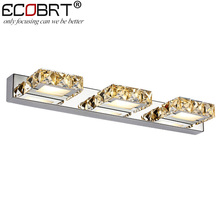 ECOBRT Современная 9 Вт 46 см долго водить настенные светильники в ванной Площадь Кристалла Бра Зеркало Лампы 3-lights AC110V/220 В