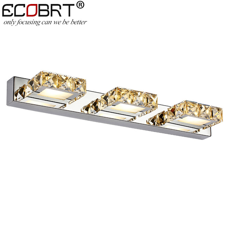 ECOBRT Modern 9W 46cm long led wall lights in bathroom Square Crystal Sconce Mirror Lamps 3-lights AC110V /220V ecobrt 7w led mirror wall lamps 40cm long modern furniture led picture lights rotated arm for home bathroom wall light