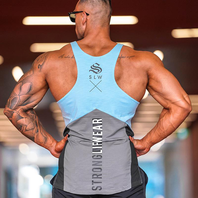 Casual gyms clothing Brand singlet Print bodybuilding stringer   tank     top   men fitness   Tops   muscle guys sleeveless vest   Tank