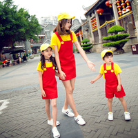 Mother and Daughter Dress Family Look Summer New Kids Cotton T Shirt+suspender Dress and Strap Shorts Set Mommy and Me Clothes