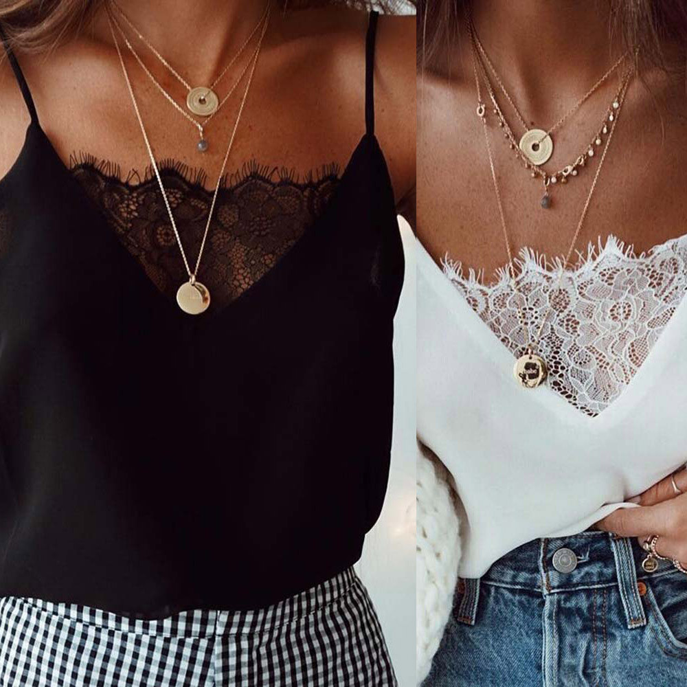 Womens Blouse Tee Lace T shirts Vest Summer 2019 Hot Sale Sexy Vest Fashion Camisole Crop