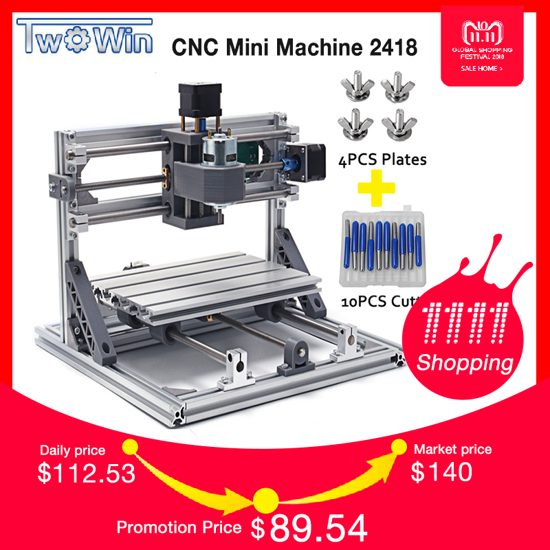 TWOWIN CNC 2418 Mini CNC Laser Machine,Working Area 24x18x4.5cm,3 Axis PCB Milling Machine with GRBL Control,CNC Router,CNC2418 mini cnc router with 500mw laser head pcb milling machine work area 240 170 65mm