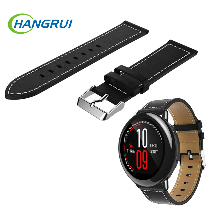 Replacement leather watch bracelet strap for Xiaomi Huami Amazfit bip pace lite 1 2 2s ticwatch 1 Bangle Wrist Strap Accessories