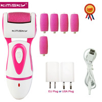 Hot KIMISKY Red RECHARGEABLE Top Electric Pedicure Tools Foot File Electric PK Scholls file Foot Care Tool +5 Roller Heads