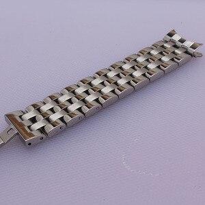 Image 2 - Yüksek Kaliteli Paslanmaz Çelik Kordonlu Saat Kavisli Son Gümüş Bilezik 16mm 18mm 20mm 22mm 24mm Katı bant marka Saatler erkekler yeni