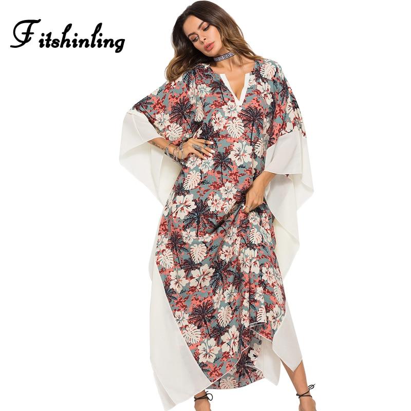 Fitshinling Big sizes bohemian beach dress swimwear 2018 batwing sleeve floral pareos oversized sexy straight maxi dresses women