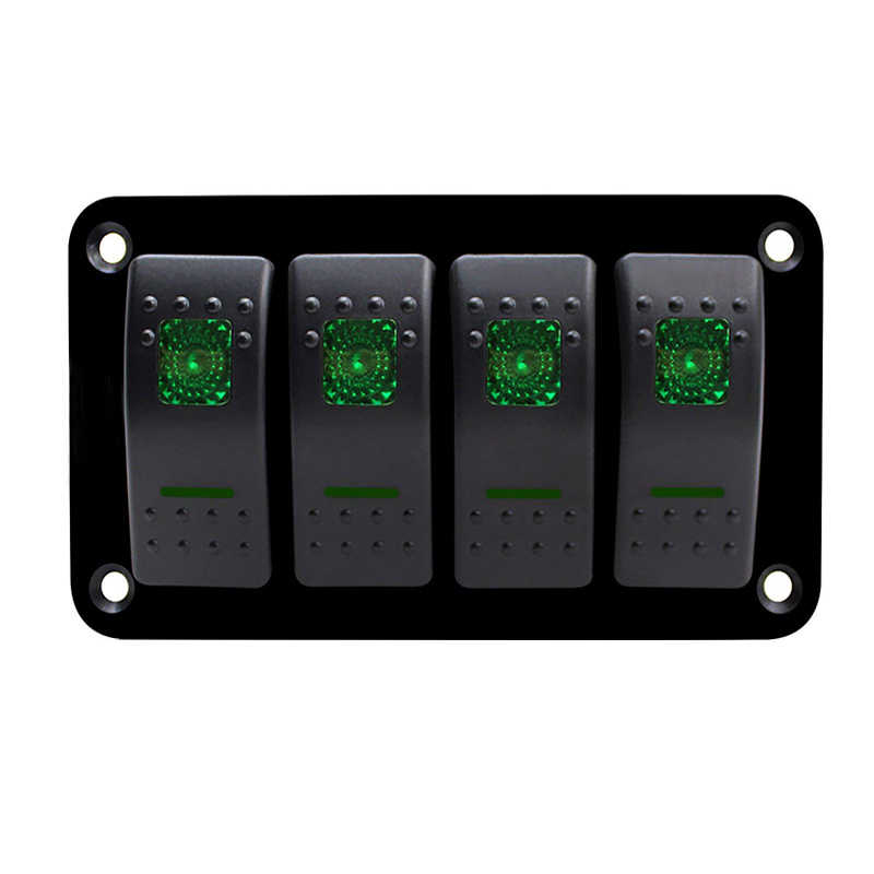 Double LED 4 Gang Car Marine Switch Panel Breaker Boat Car Rocker Switch Control Panel for  Car Marine  RV Caravan
