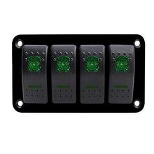 Double LED 4 Gang Car Marine Switch Panel Breaker Boat Car Rocker Switch Control Panel for  Car Marine  RV Caravan