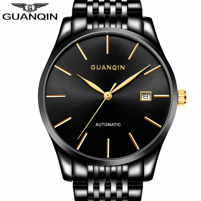 relogio masculino GUANQIN Luxury Brand Men's Fashion Stainless Steel Watches Men Business Waterproof Automatic Mechanical Watch relogio masculino guanqin brand luxury men business tourbillon skeleton watches full steel waterproof automatic mechanical watch