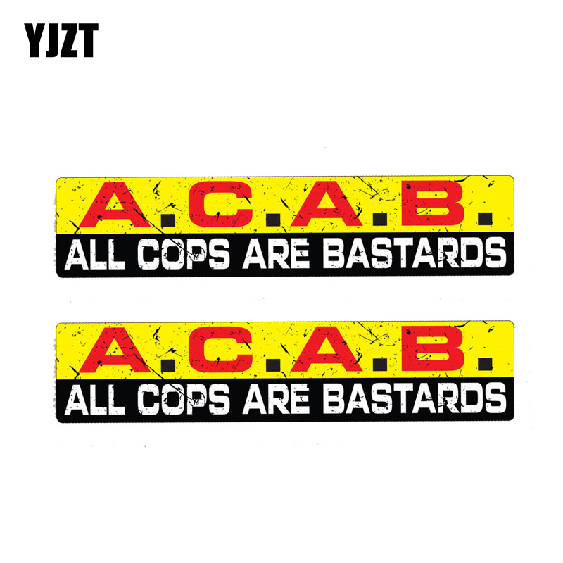 YJZT 2X 15CM*3CM Warning Reflective Decal ALL COPS ARE BASTARDS Car Sticker PVC 12-1177