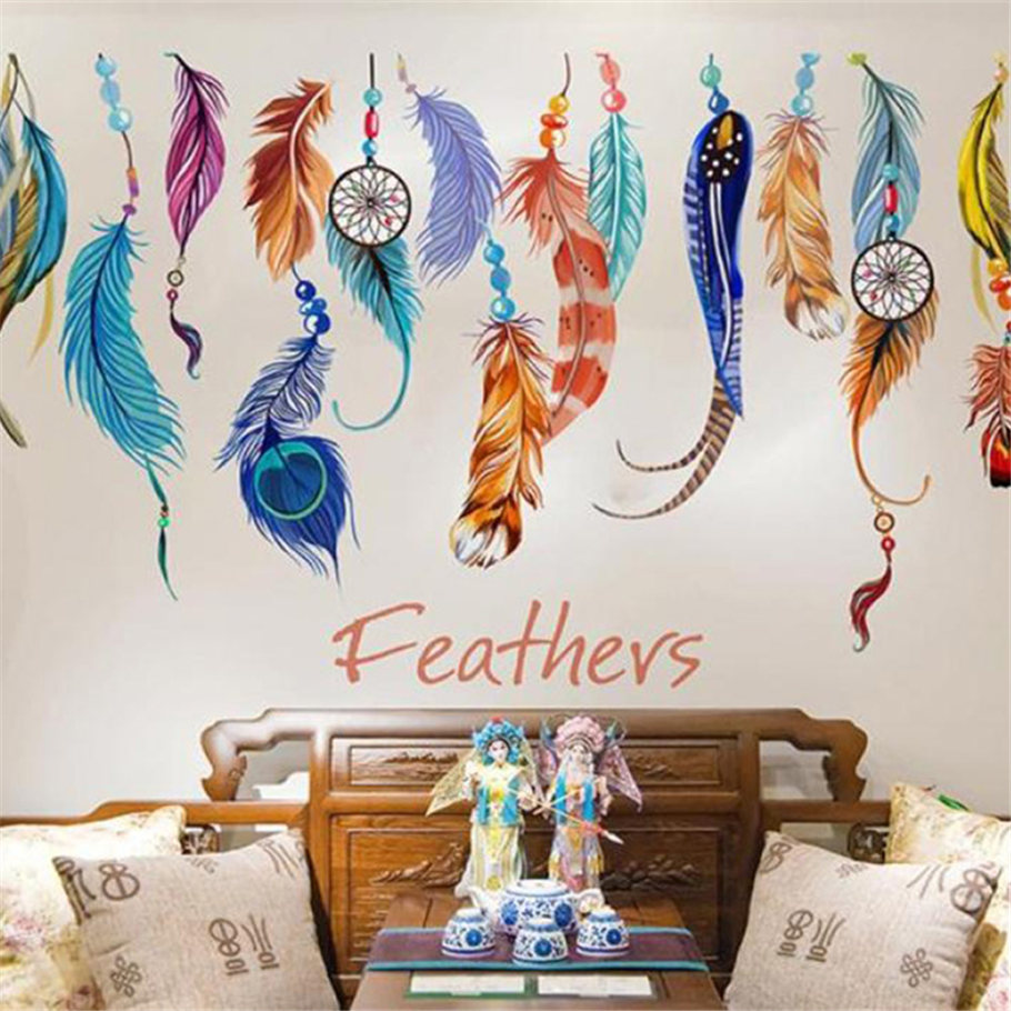 ISHOWTIENDA PVC Feather Decals 3D Wall Stickers Home Decor Poster for Kids Rooms Adhesive to Wall Decoration Adesivo De Parede