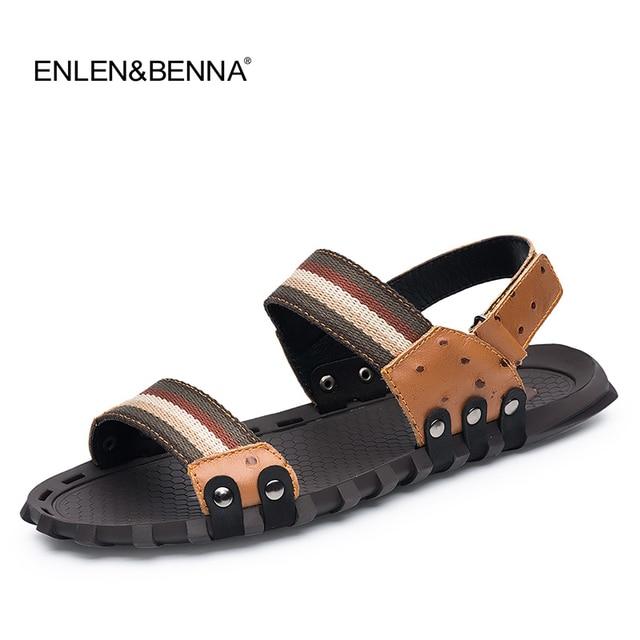 33e0c7c27eae94 2017 New Fashion Summer Beach Breathable Men Sandals Genuine Leather Men s  Sandal Man Causal Shoes Flip Flops Plus Size 39-47
