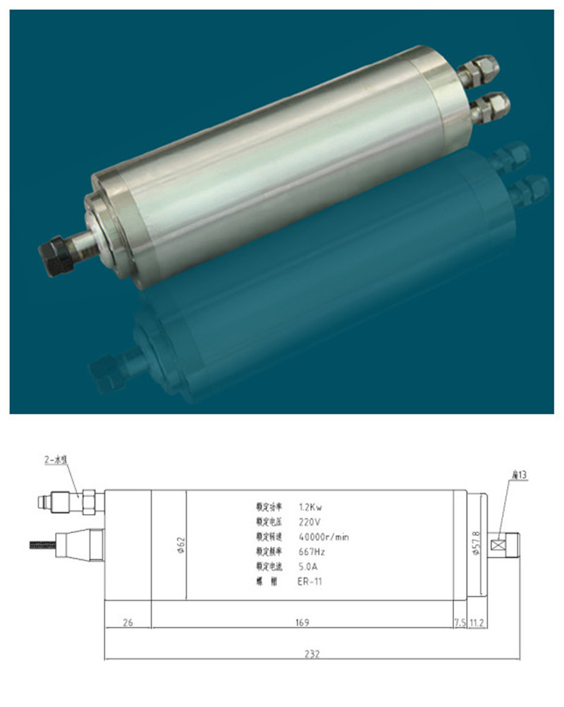 1.5HP 1.2kw ER11 40000RPM Precision High Speed spindle motor water cooling 220VAC 5A 670HZ 62mm 4 bearings CNC Router русалочка