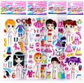 20pcs dolls exchange 3D foam stickers girls change cloth dress  wearing game stickers preschool award party supplies kids gifts
