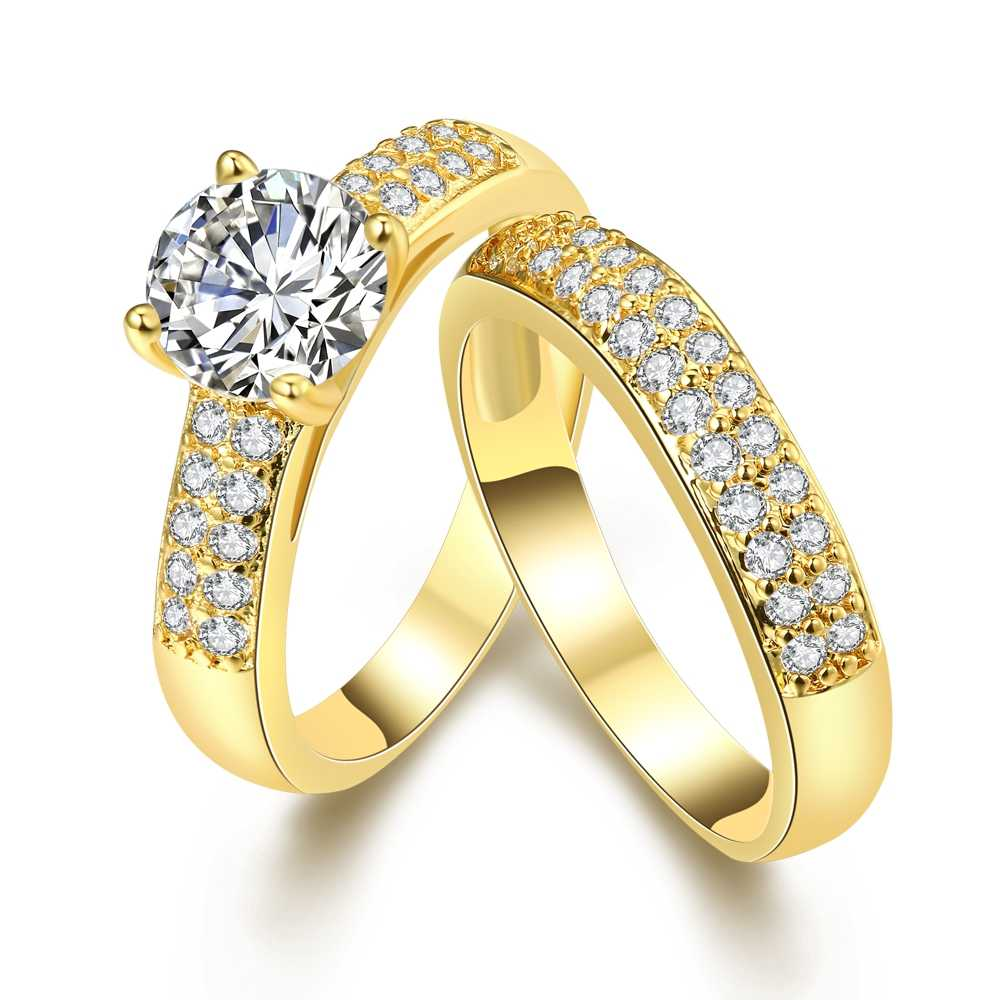 efde1825dd Hot Sale Jewelry Pair Ring Set Gold Color DIY Couple Rings Female Set Of  2pc For