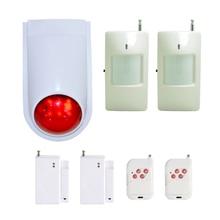 (1 Set) Wireless Remote control Alarm System With Door Sensor PIR Motion Detector Outdoor Strobe Siren LED Flash buzzer
