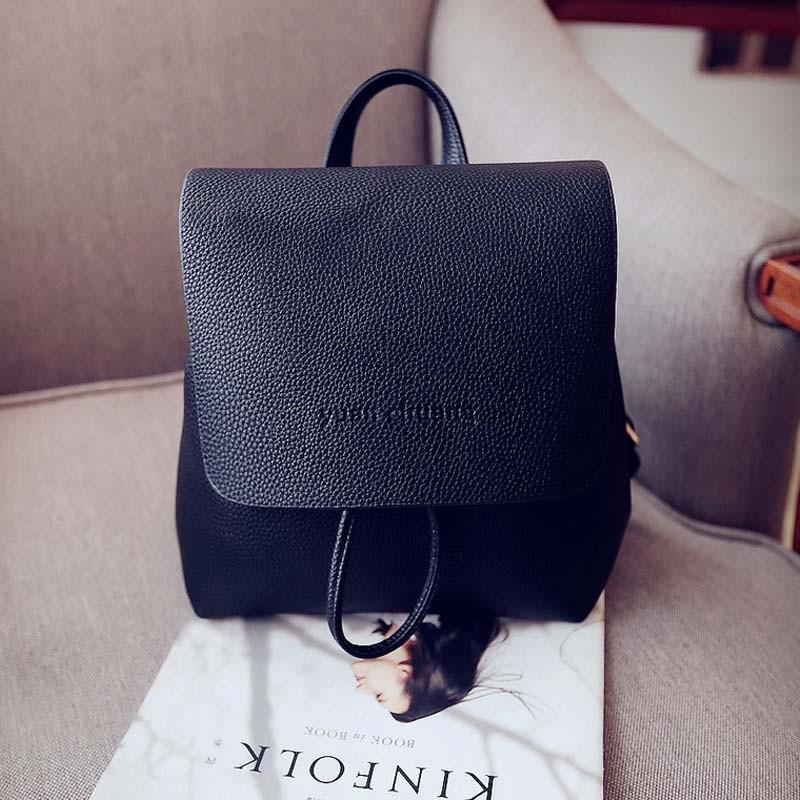 Simple Designer Small Backpack Women White and Black Travel PU Leather Backpacks Ladies Fashion Female Rucksack Back Bag XA1018B (4)