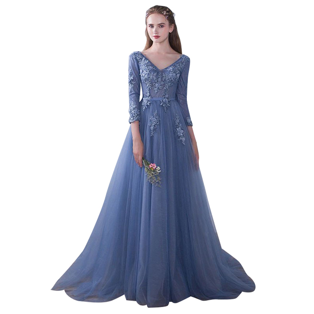 Soot Blue Prom Dresses Long 2017 V Neck 3/4 Sleeves Lace Floor ...