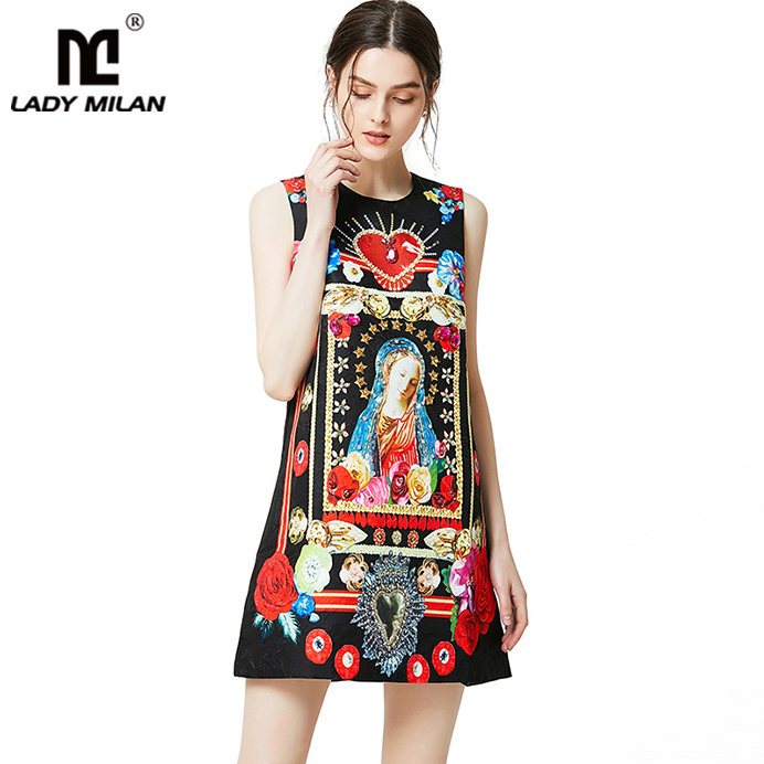 Lady Milan 2019 Women s Runway Dresses O Neck Sleeveless Vintage Printed Beaded Dobby Elegant Casual
